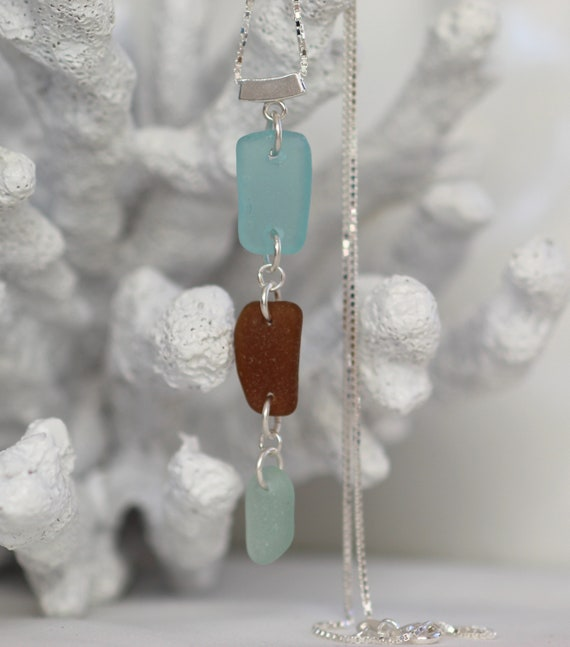 Billows sea glass necklace in earth tones