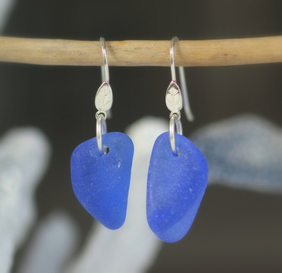 Little Leaf cornflower blue sea glass earrings
