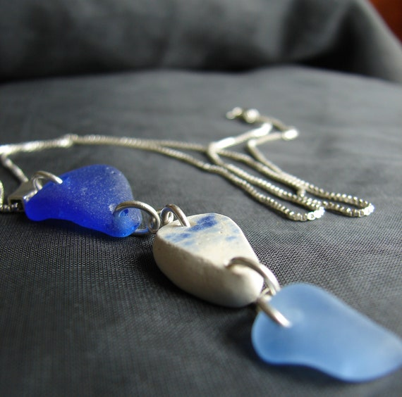 Vessel sea pottery and sea glass necklace in blues