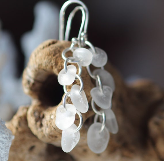 Cascade sea glass earrings in pure white