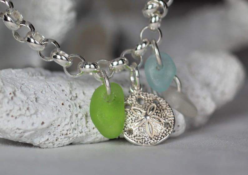 ocean charm bracelet sterling silver genuine sea glass jewelry halifax nova scotia sand dollar bracelet Sea glass bracelet gift for mom