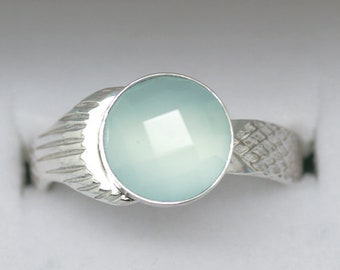 NEW 8mm Faceted Genuine Chaceldony The Real Mako Mermaid Ring Sterling Silver 925 + Shell Box! size 4 to 10 Island of Secrets Moon Pool