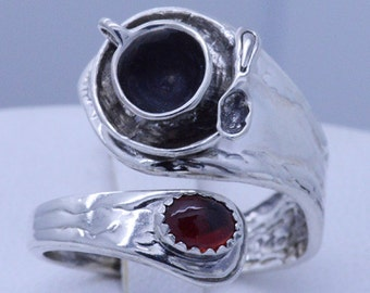Sterling Silver Miniature Coffee Mug Spoon Adjustable Spoon Ring (any Size) choose your gemstone - shown with Red Garnet