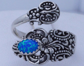 Victorian Intricate Floral Sterling Silver Adjustable Spoon Ring (choose your gemstone) shown with Blue Opal