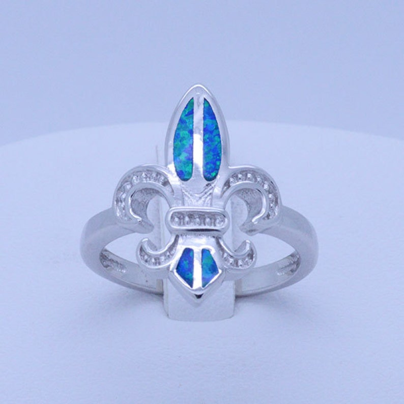 28676a623e Sterling silver Blue Fire Opal Inlay Fleur-de-lis Ring 6 6.5 | Etsy