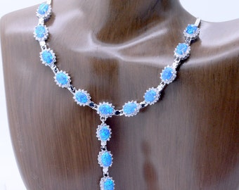 Fancy Event Necklace sterling silver Blue Fire Opals and Zircons women's necklace Stunning 16.5 inch Only 1 Available!  Gift Box included
