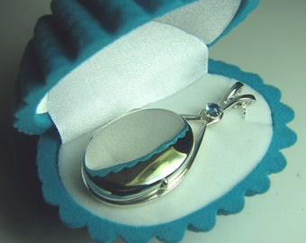 H20 Just Add Water EXACT Replica Locket Necklace like H2O Mermaids Sterling Silver 925 Aquamarine