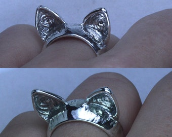 LIQUIDATION! Trendy Sterling Silver 925 Cat Ears Ring size 6 7 8 9 10 11