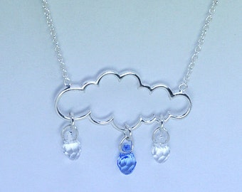 Cloud & Swarovski Crystal Necklace Sterling Silver 925