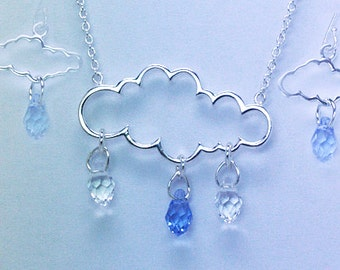 Cloud & Swarovski Crystal Necklace and Earrings Set Sterling Silver 925