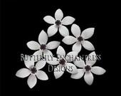Wedding Hair Flowers, Bridal Hair Accessories, White Ivory Bridesmaid Gift - 6 Thea Stephanotis Hair Pins - Dk Plum Purple Rhinestone Center