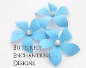 Something Blue Wedding Hair Flowers, Bridal Beach Hair Accessories - 3 Sky Blue Caribbean Plumeria Hair Pins - Rhinestone Centers