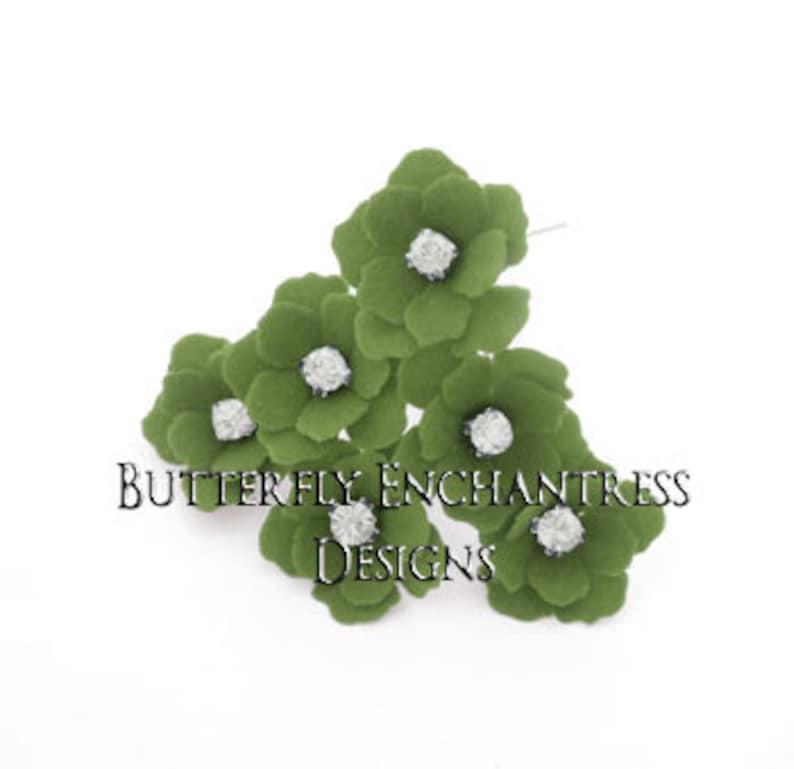 Rhinestone Hair Pins Bridal Hair Pins Wedding Hair Pins Bridal Hair Flower 12 Fern Green Mini Buttercup Wedding Headpiece Accessory