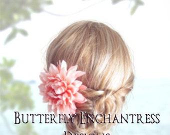 Coral Pink Blush Wedding Hair Flower, Bridal Hair Accessory, Beach Bridesmaid Maid Flower Girl Gift - Dahlia Flower Hair Clip - Rhinestone