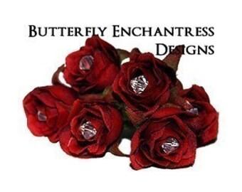 Red Wedding Hair Accessories, Bridal Hair Piece, Hair Flowers - 6 Crystal Red Rose Flower Hair Pins