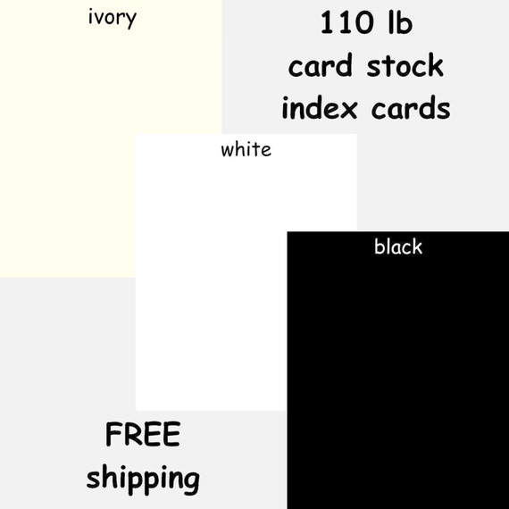 100 Heavyweight Cardstock 3x5 4x6 Index Cards White Black Etsy