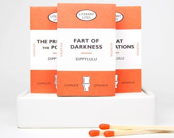 Stocking stuffer gag gift matchbox Literary Lites -- When the air thickens, so should the plot. Tiny mini matchbooks. Dippylulu classics.