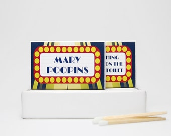 Theater lover gag gift stocking stuffer fart matchboxes -- Broadway Lites.