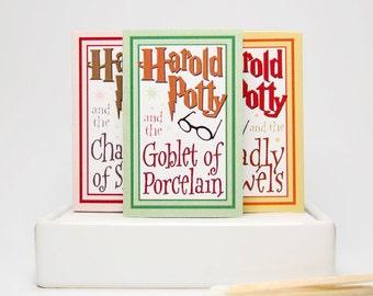 Stocking stuffer gag gift parody matchboxes -- Harold Potty Lites. Literary lovers secret santa.