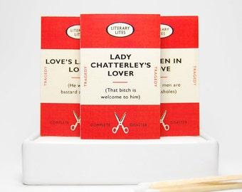 Anti Valentine book lover funny gag gift matchboxes -- Mature Anti Love Literary Lites. Boyfriend gift. Girlfriend gift. Book lover gift.