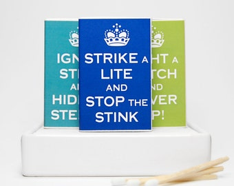 Stocking stuffer novelty matchbox gag gift set  - Keep Calm and Carry On parody. Funny cute gift.
