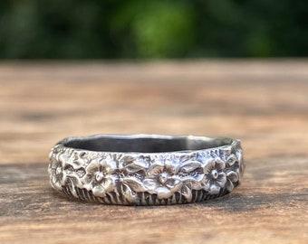 Botanical Band Stacking Ring, Sterling Silver Floral Ring, Stacking Ring - Made To Order