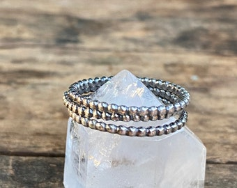 Single Beaded Band Stacking Ring, Sterling Silver Bead Band Ring - Made To Order