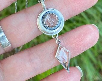 Double Quartz Crystal Moon Amulet