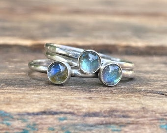 Single Labradorite Stacking Sterling Silver Ring - Made To Order In Your Size