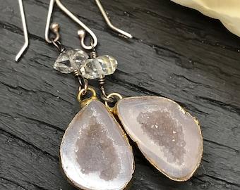 Geode and Herkimer Diamond Earrings
