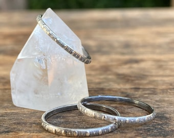 Single Patterned Stacking Ring, Sterling Silver Stacking Ring - Made To Order