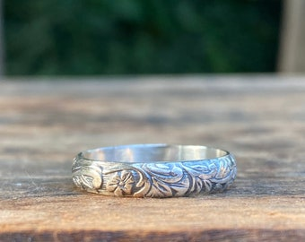 Floral Leaves Stacking Ring, Sterling Silver Floral Ring, Stacking Ring - Made To Order