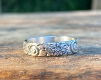 Floral Swirls Stacking Ring, Sterling Silver Floral Ring, Stacking Ring - Made To Order