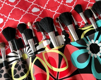 Makeup brush holder , makeup brush roll, Crochet hook organizer, Floral, Two tiered