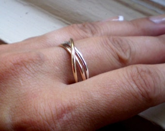 Simple Rustic Trois Sterling Rose Gold Fill and 14K Gold Fill Precious Metals Intertwined Ring