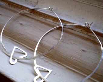 We Are in Love - Extra Large Sterling Silver Heart Hoop Earrings