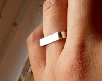 Simply Monolithic Square Modern Edge Sterling Silver Stacking Wedding Band