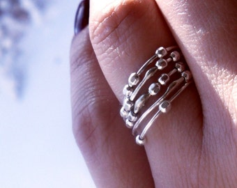 Simply Skinny Spinnerette Rustic Organic Sterling Silver Stacking Rings - Set of Five
