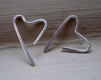 We Are in Love - Teeny Tiny Sterling Silver Heart Open Hoop Earrings