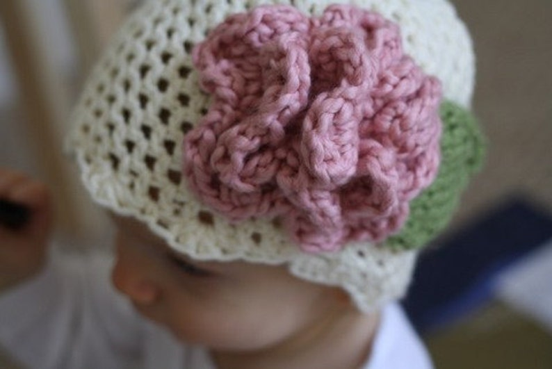 88432ec82aaf2 PDF Pattern for Crocheted Cream Hat with Pink Accent flower