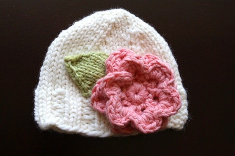 6bd3d9351a905 PDF Knit Pattern for Bulky Weight Cream Hat with Pink Accent