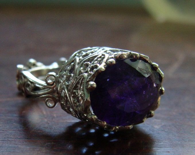 Filigree ring amethyst in sterling - Vieux Carre Ring