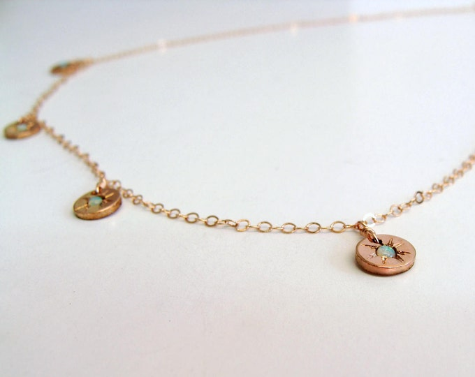 Opal Charm necklace Rose gold opal Starry - eyed charm necklace