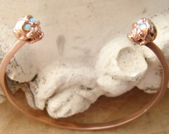 Skull cuff bracelet with opal eyes, rose gold bronze, cuff bracelet, stacking bracelet