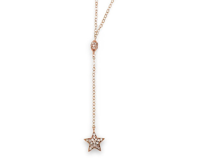 Rose gold star lariat with diamonds