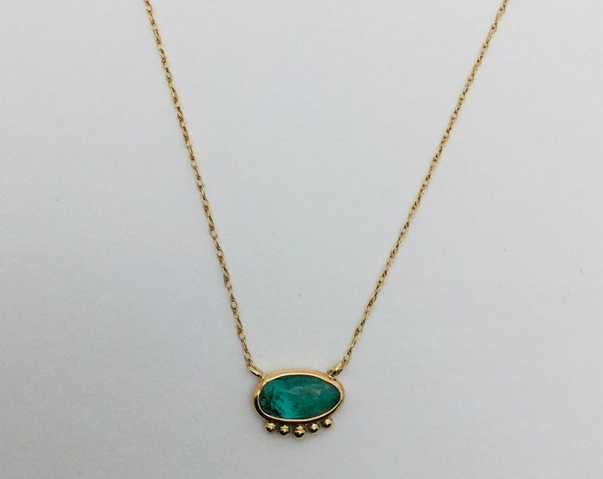 Emerald slice necklace, gold gemstone necklace, emerald and gold necklace