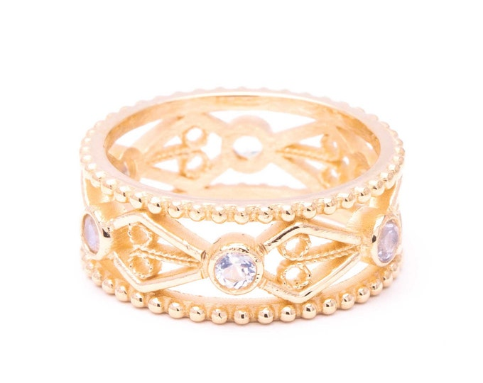 French Lace Filigree Cigar Band ring 10k gold eternity ring rainbow moonstones