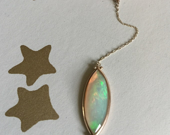 Opal Y necklace in 10k yellow gold faceted beautiful navette shape