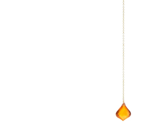 Y necklace gold filled arabesque shaped faceted garnet