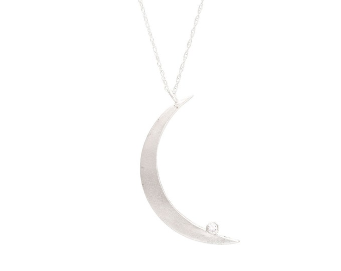 Crescent Moon necklace silver moon and star pendant